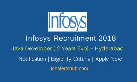 Infosys Recruitment 2018 | Java Developer | Graduation/PG | Chennai, Hyderabad, Pune, Trivandrum | Apply Now