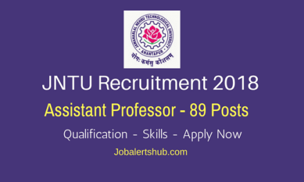 JNTU Anantapur 2018 Recruitment | Assistant Professor -89 Vacancies | PG with National Eligibility Test | Apply Now