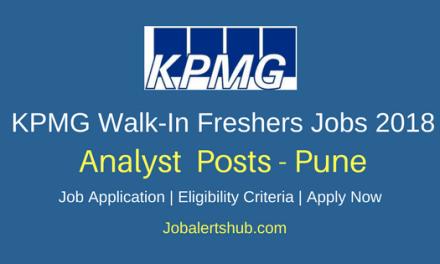 KPMG Pune 2018 Analyst Freshers Jobs – 50 Vacancies | Graduation | Walkin: Monday to Friday