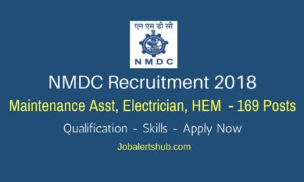 NMDC Recruitment 2018   Maintenance Asst, Electrician, HEM – 169 Posts   Diploma/ITI/Degree   Apply Now @ www.nmdc.co.in