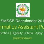 RSMSSB 2018 Informatics Assistant Jobs – 1302 Vacancies | Diploma/B.Tech| Apply Now