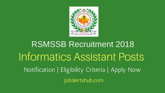 RSMSSB 2018 Informatics Assistant Jobs – 1302 Vacancies   Diploma/B.Tech  Apply Now