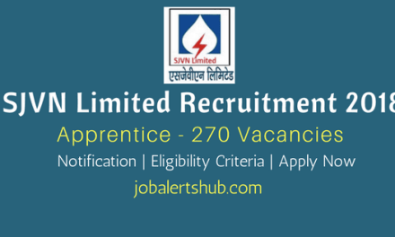 SJVN Limited Recruitment 2018 | Apprentices – 270 Vacancies | ITI/ Diploma/B.Tech | Apply Now