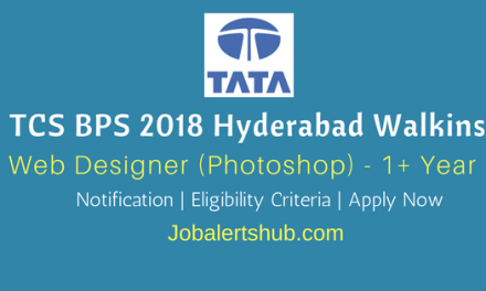 TCS BPS Hyderabad Walkins 2018 | Web Designer (Photoshop) | 1 – 7 Years | Graduation | Apply Now