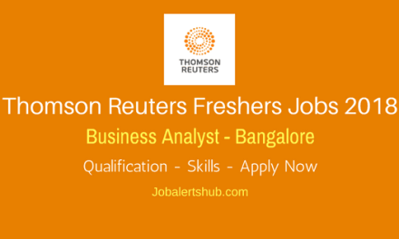 Thomas Reuters Freshers Jobs In Bangalore 2018   Business Analyst   Graduation   Apply Now