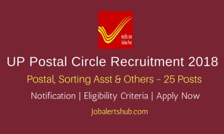 UP Postal Circle Recruitment 2018   Postal, Sorting Asst, Postman & MTS – 25 Posts   10th Class, 10+2, ITI   Apply Now