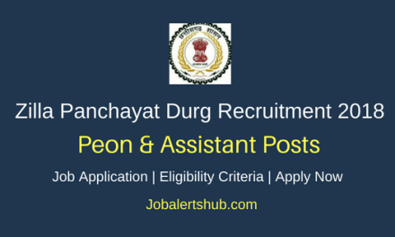Zilla Panchayat Durg Recruitment 2018 Peon & Assistant Jobs – 04 Posts | 8th Class, 10+2, Any Degree | Apply Now