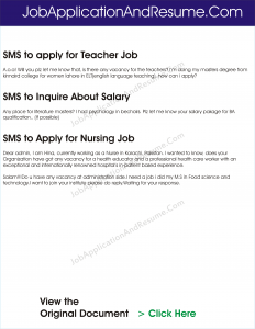 sample sms to apply for job positions jaar head hunters