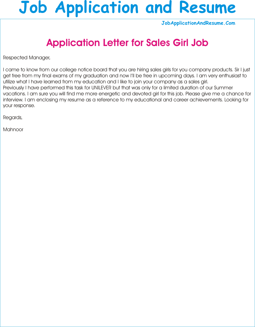 application for the post of a sales girl - Resume Letter For Applying Job