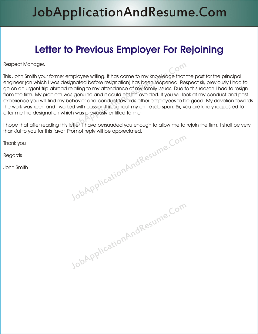 Sample Letter to Rejoin the Job | JAAR Head Hunters