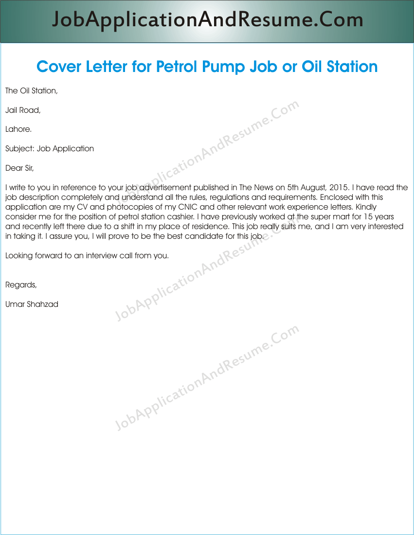 Job Application for Oil Station or Petrol Pump | JAAR Head Hunters