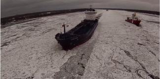 Ice jams on the St Clair River by Drone