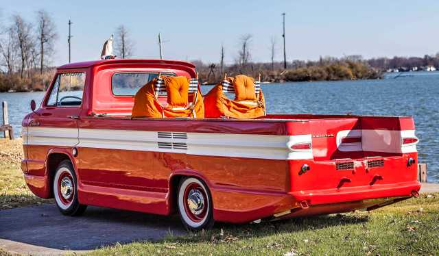 A 1961 Chevrolet Corphibian photographed Monday November 16, 2015 in Russels Point, Ohio. (© James D. DeCamp | http://www.JamesDeCamp.com | 614-367-6366)