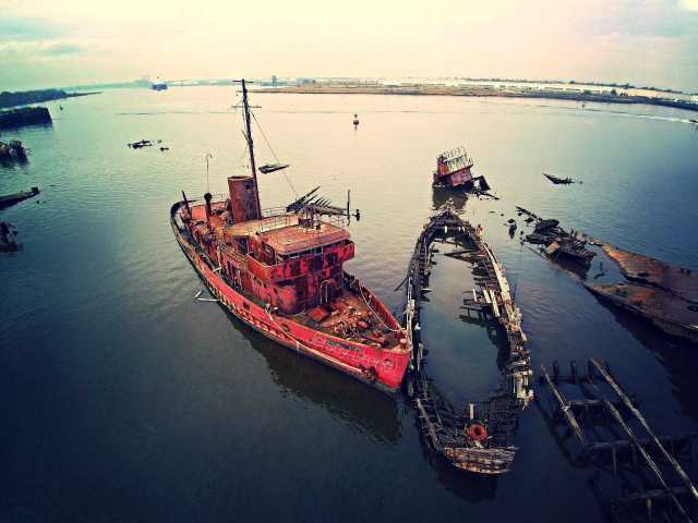 Ghost Ship Yard From A Drones View Awesome Video