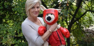 Sharon Heinrich on the Riesling Trail with a kangaroo boxer her husband gave her after the incident to cheer her up.