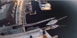 SKIP TO 1:08 FOR THE JUMP! Thanks everyone for waiting on this insane video, I promise it was worth the wait! Massive 129' building drop into the Harbor dodging a dock. Recorded with a GoPro Hero 5 Black (mouth mounted) and a Hero 5 Session (hand mount)