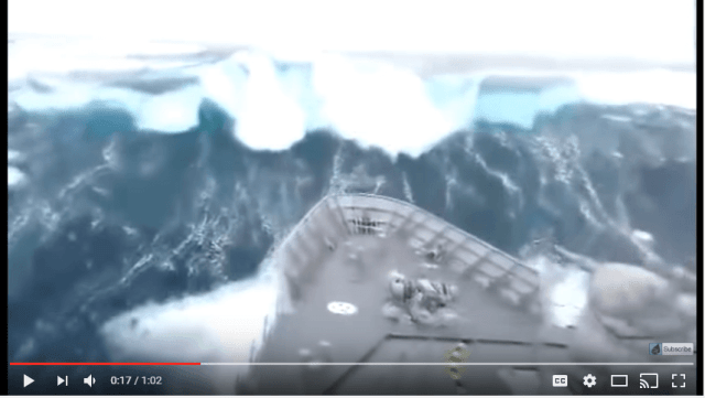 New Zealand navy vessel HMNZ Otago gets hit head-on by a 50 foot wave. The ship was operating in the southern Pacific ocean at the time during a powerful storm. Winds at some points exceeded 150 km/h with 50 foot ocean swells.