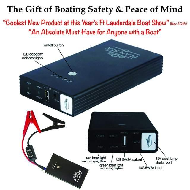 Emergency Boat RESCUE / JUMPER. Onboard Battery Jump Starter w/ Rescue Laser Flares