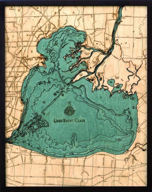 "Lake St. Clair, Michigan 3-D Nautical Wood Chart, 24.5"" x 31"""
