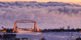 """Sea smoke,"" or fog created when very cold air moves over warmer water, forms on Lake Superior outside Duluth, Minn. on Jan. 19, 2016. ((Courtesy 