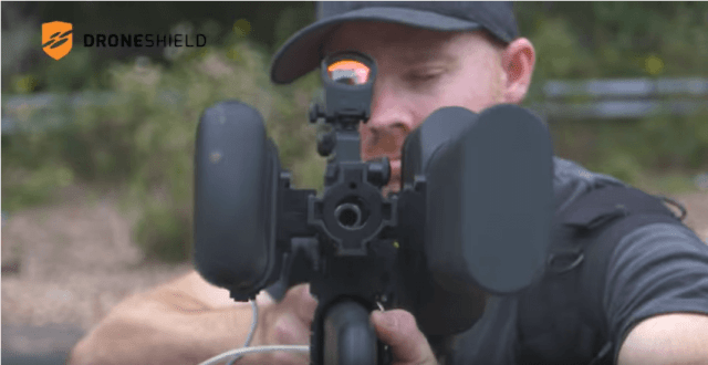 Drone gun forces drones to land