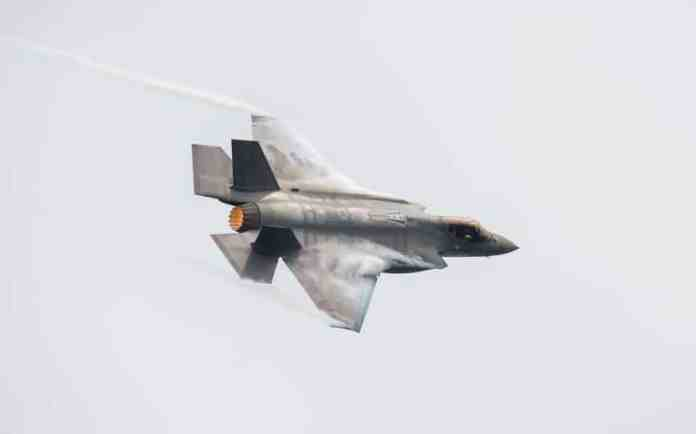 F-35 over Lake Michigan. U.S. Air Force photo by Airman 1st class Alexander Cook