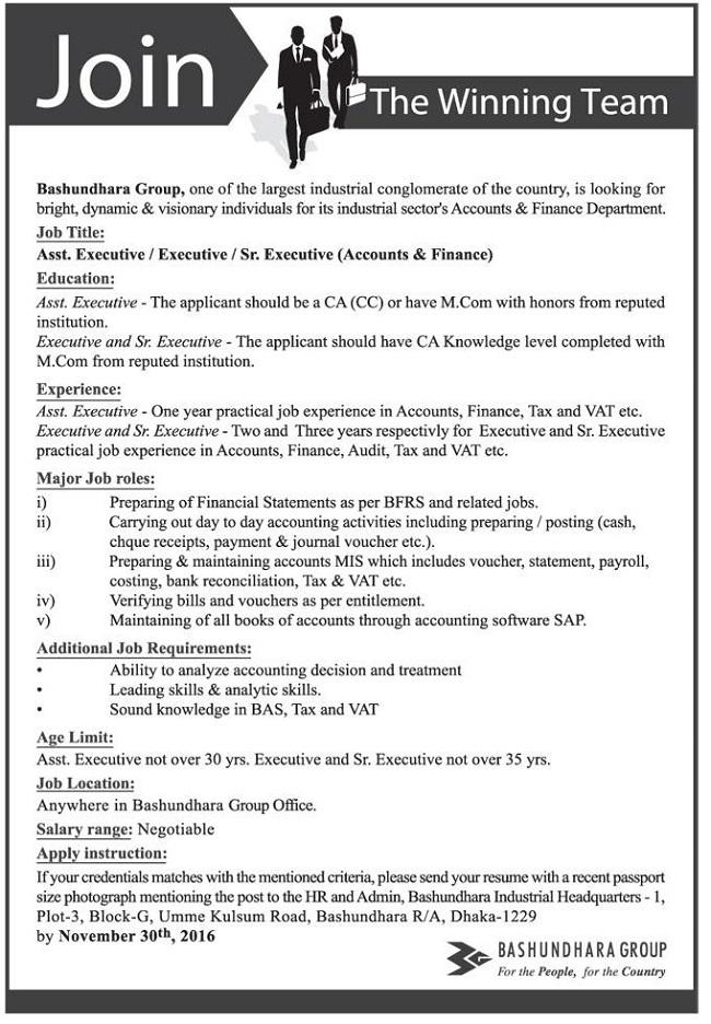 Bashundhara Group Job circular November 2016