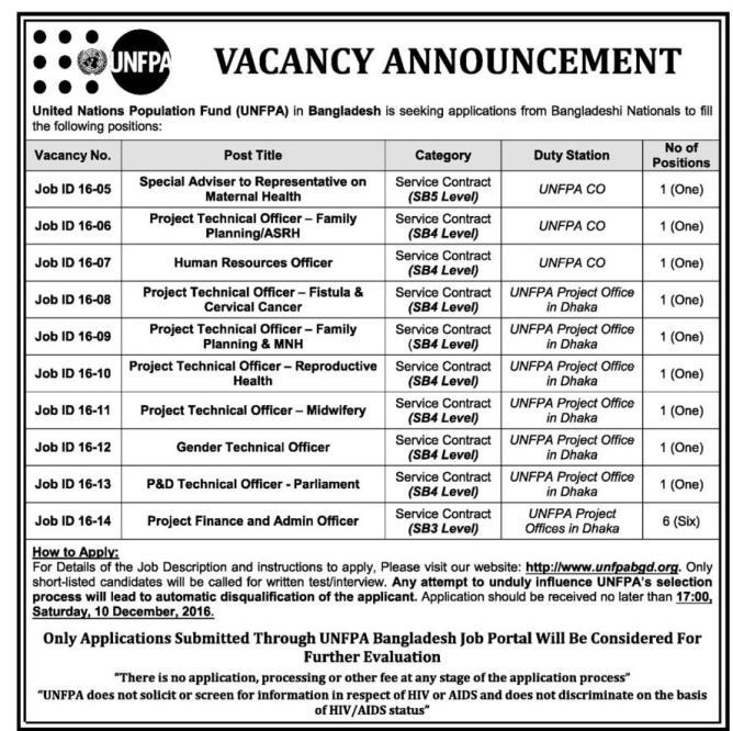 UNFPA Bangladesh Job Circular 2016