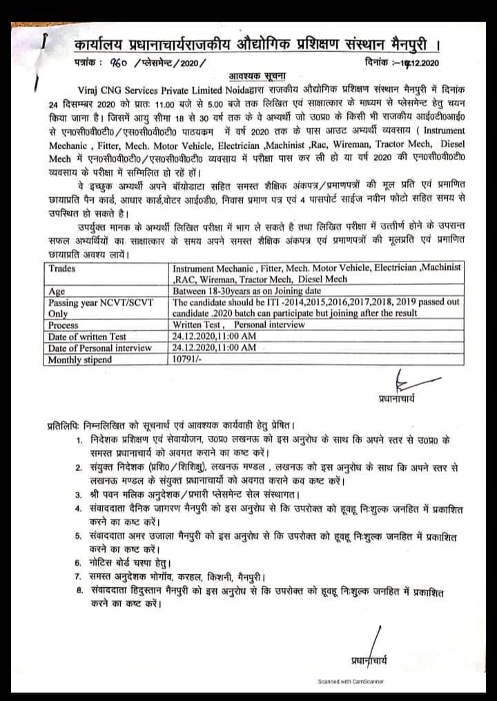 ITI Jobs Campus Placement at Govt ITI Mainpuri