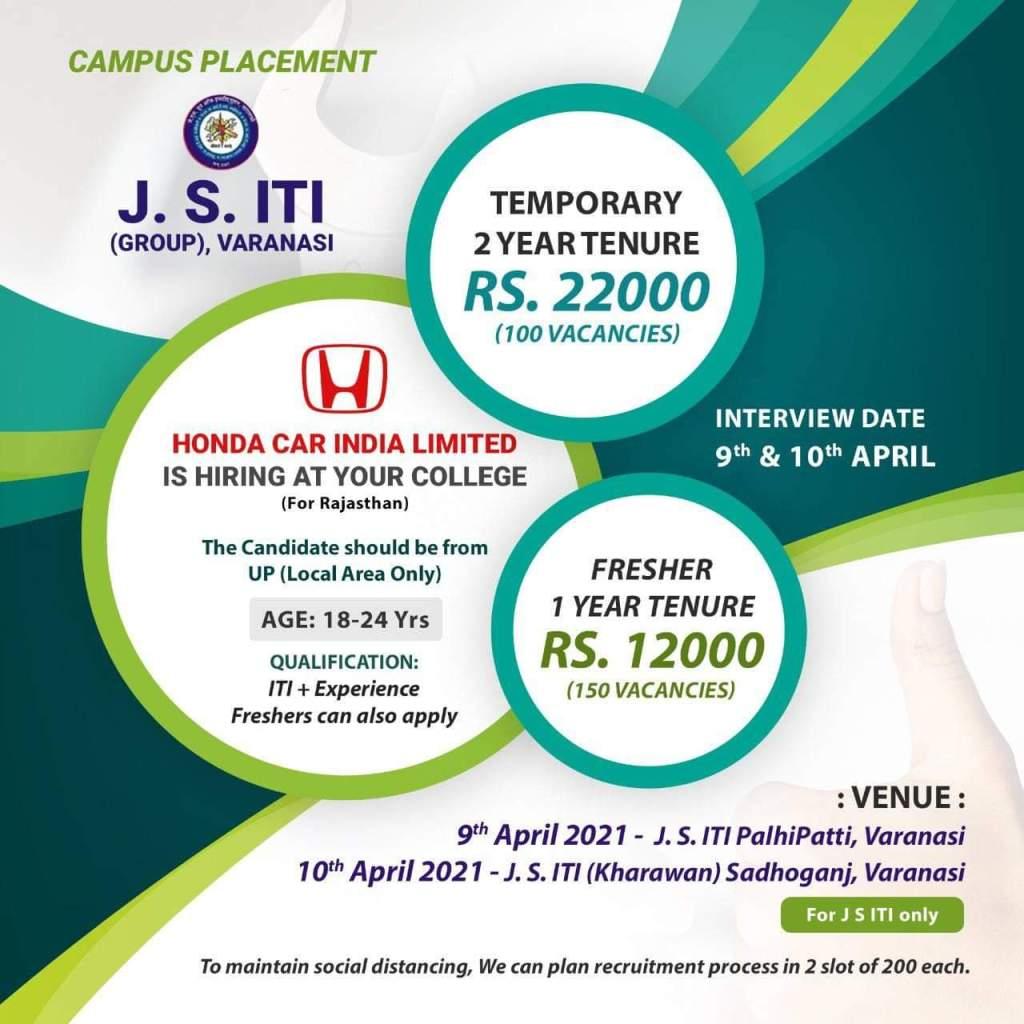 JS ITI Group Varanasi Campus Placement 2021