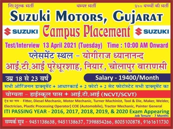 Suzuki Motors Gujarat Campus Placement 2021