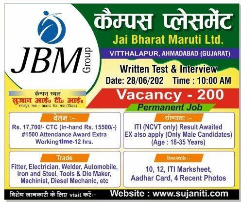 ITI Permanent Job Campus Placement For Jai Bharat Maruti Ltd. (JBM)