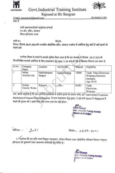 ITI Campus Placement In Govt ITI Rajound at Bir Bangran