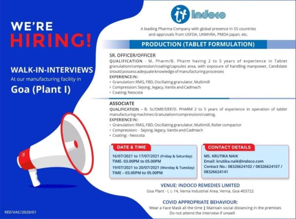 Indoco Remedies Ltd. – Tablet Formulation | Production Jobs