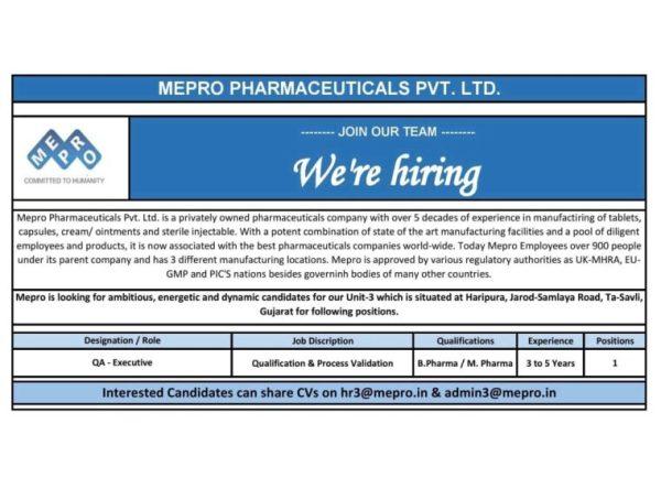 Pharma jobs in Mumbai | QA, Store and Export Departments