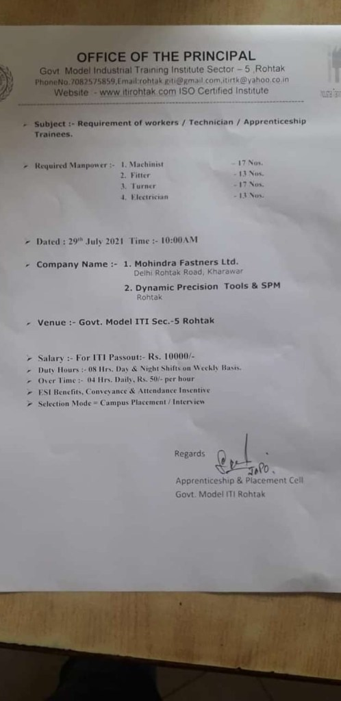 ITI Campus Placement In Govt Model ITI Rohtak