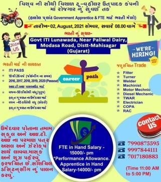 ITI Job Requirement at Govt ITI Lunawada, Gujarat