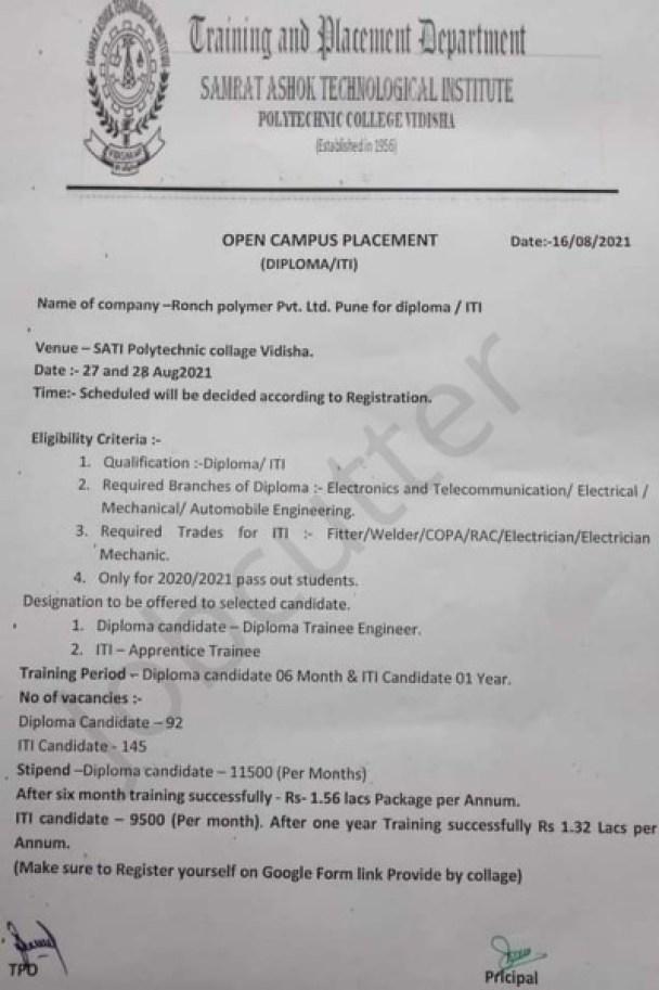 Open Campus Placement At Sati Polytechnic College Vidisha