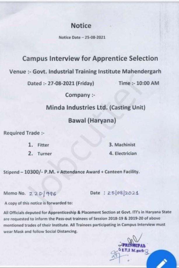 ITI Campus Placement For Minda Industries Ltd.