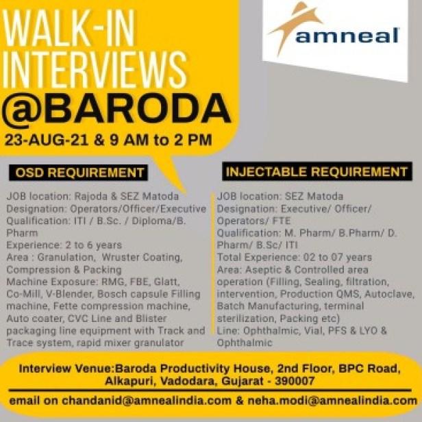 Walk In Interview Amneal Pharma Recruitment 2021