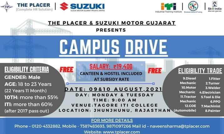 ITI Campus Selection In Tagore ITI College Jhunjhunu