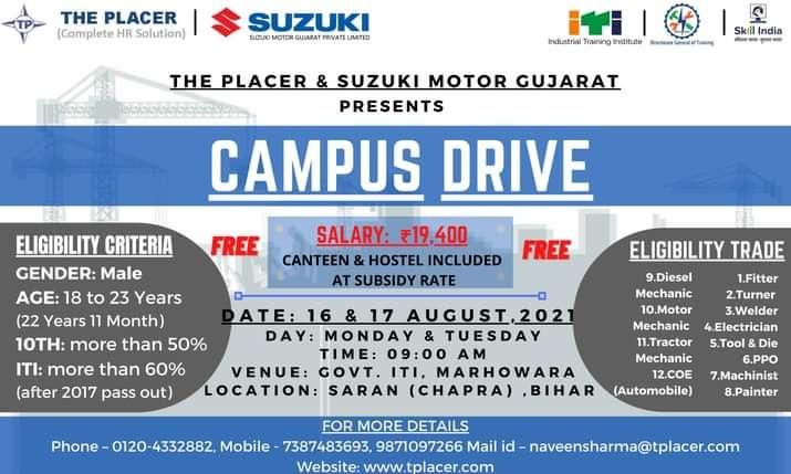 Campus Placement In Govt ITI Marhowara Saran