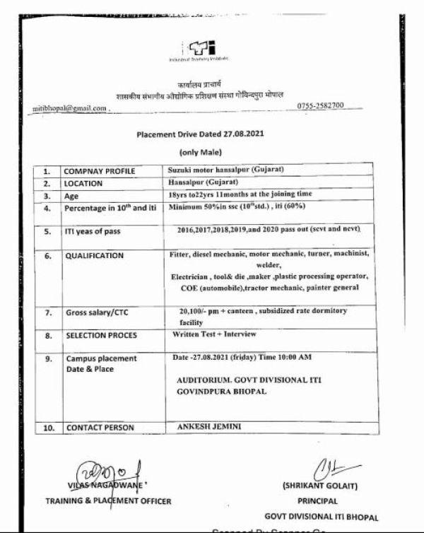 ITI Campus Placement At Govt ITI Govindpura Bhopal
