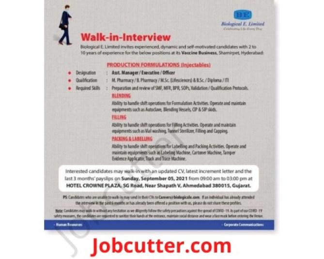 Biological E Limited Recruitment 2021 Walk In Interview