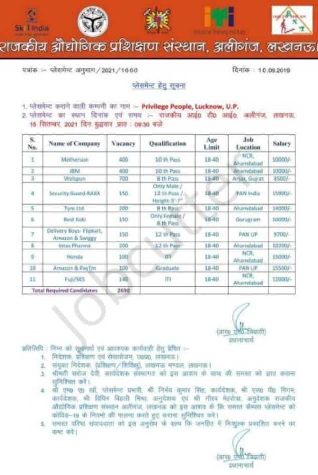 11 Company Campus Placement 2021 At Govt ITI Ailganj Lucknow