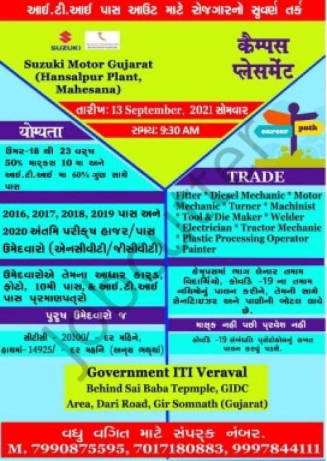 ITI Campus Recruitment At Govt ITI Veraval Somnath 2021