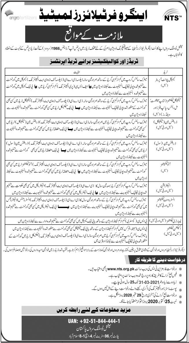 NTS Apprenticeship Engro Fertilizer Jobs 2020