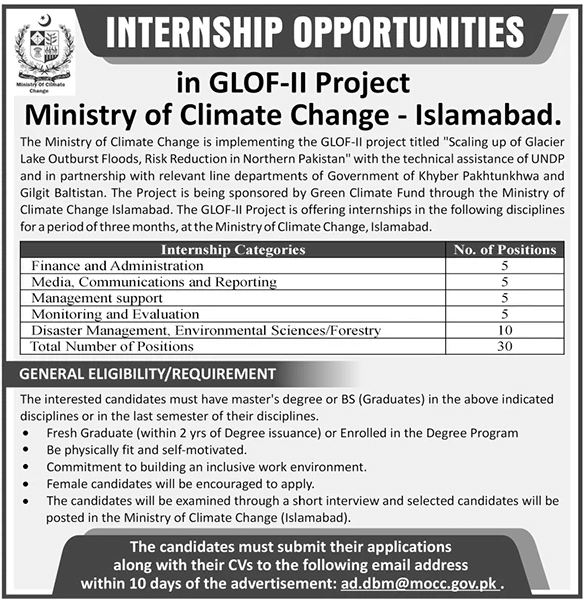Ministry of Climate Change Internship 2020