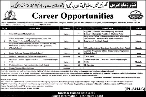 Punjab Information Technology Board Jobs 2020 Apply Online