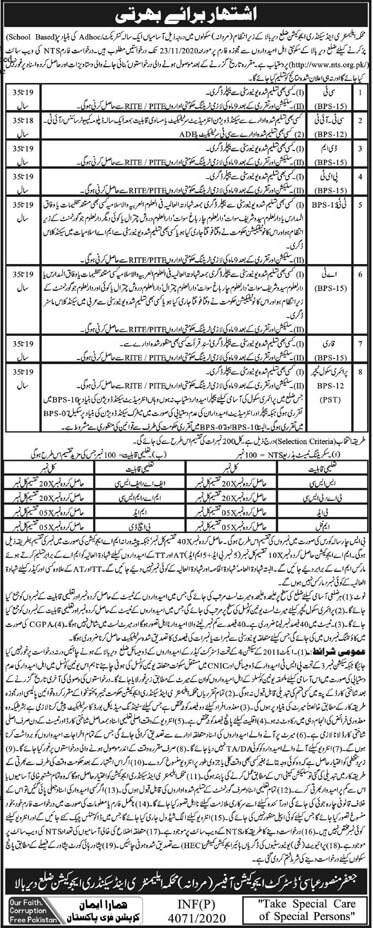 Elementary and Secondary Education Department Upper Dir Jobs 2020